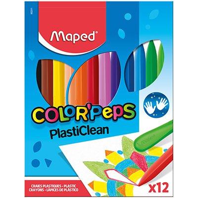Giz Plástico Color Peps, 12 cores, 862011, Maped ET 1 UN