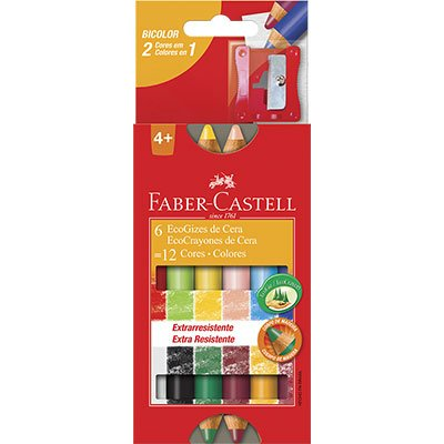 Giz de cera 12 cores (6 bicolor) HT141412 Faber Castell CX 1 UN