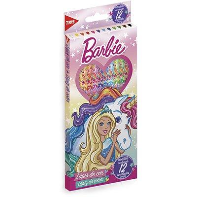 Lápis de Cor 12 cores sextavado Barbie 643557 Tris CX 1 UN