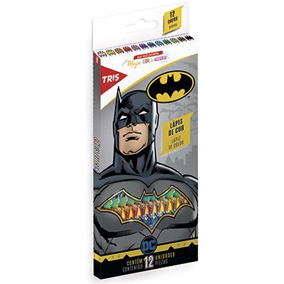 Lápis de Cor 12 cores sextavado Batman 604831 Tris PT 1 UN