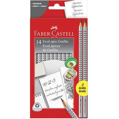Lápis preto n.2 grip cinza triangular +2 lápis 2001B/F Faber Castell  CX 12 UN
