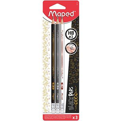 Lápis Grafite Black Peps Deco HB 2, com borracha, 3 unidades, 851718, Maped ET 1 UN