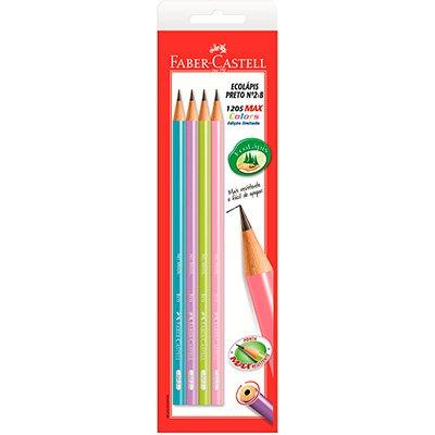 Lápis preto n.2 ecolápis max corpo color SM1205MED Faber Castell BT 4 UN