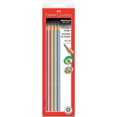 Lápis preto n.2 matellic redondo SM1210MET Faber Castell BT 4 UN