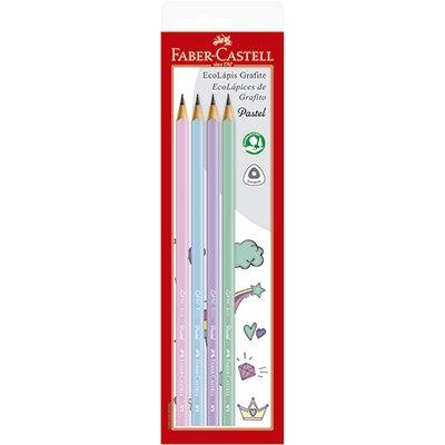 Lápis preto n.2 pastel triangular SM1205PASTEL Faber Castell BT 4 UN