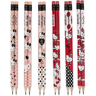 Lápis preto n.2 c/borracha Hello Kitty sortido 21652 Molin BT 4 UN