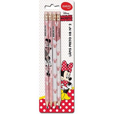 Lápis preto n.2 c/borracha Minnie sortido 22350 Molin BT 4 UN