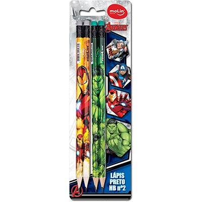 Lápis preto n.2 c/borracha Avengers sortido 22250 Molin BT 4 UN