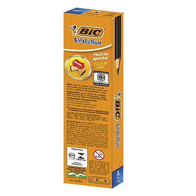 Lápis Preto BIC Evolution, Corpo Hexagonal, Sem Borracha, Grafite HB2, Cartucho com 12 unidades, 904329 - CX 12 UN
