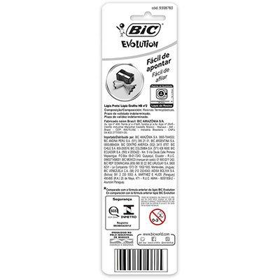 Lápis preto n.2 c/borracha Evolution sextavado 845963 BIC BT 4 UN