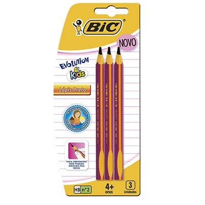Lápis preto n.2 Evolution Kids triangular 902494 Bic BT 3 UN