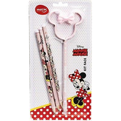 Lápis preto n.2 Minnie Face + caneta Minnie sortido 22327 Molin PT 4 UN