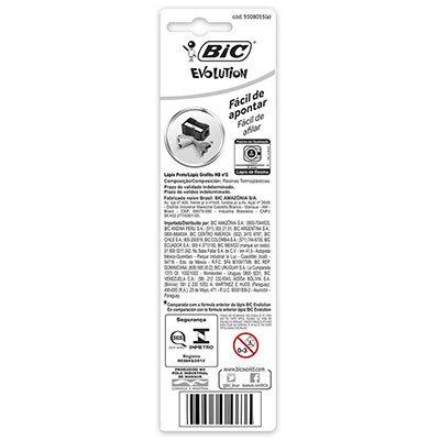Lápis Plástico Preto Nº 2HB, BIC Evolution Pijama, Corpo Hexagonal Listrado em Cores Divertidas, 891672, 3 Unidades - BT 3 UN