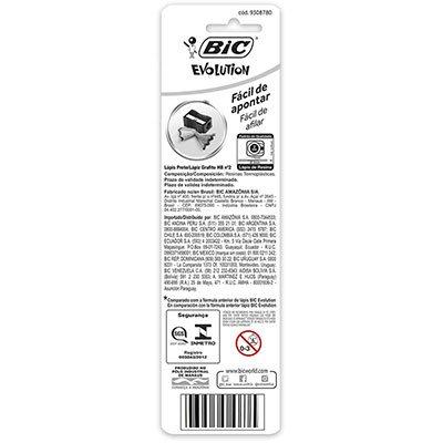 Lápis plástico preto Evolution sextavado 835230 BIC BT 4 UN