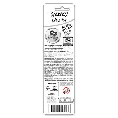 Lápis preto n.2 c/borracha Evolution redondo 835318 BIC BT 4 UN
