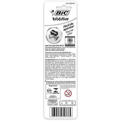 Lápis plástico preto Evolution sextavado 904328 BIC BT 4 UN
