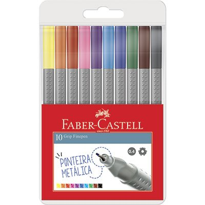 Caneta hidrográfica Fine Pen 0,4mm FPGESTOJO10 Faber Castell BT 10 UN