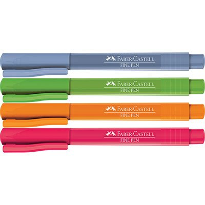 Caneta hidrográfica Fine Pen 0,4mm FPBES2ZF Faber Castell BT 4 UN