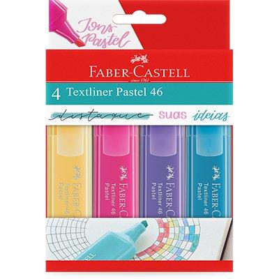 Marca Texto Textliner Pastel Estojo com 4 Cores - 4 Un - Faber-Castell BT 4 UN