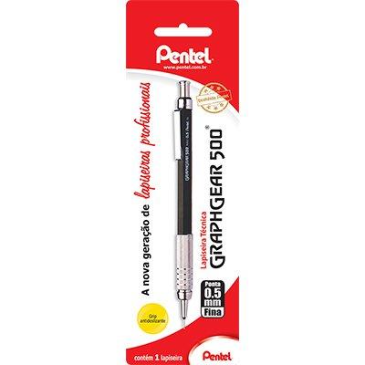 Lapiseira 0.5mm Graphgear Preta, SM-PG525-A6 - Pentel BT 1 UN