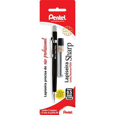 Lapiseira 0.5mm técnica preta+ 1tb c/12 minas sm/p205-am Pentel BT 1 UN