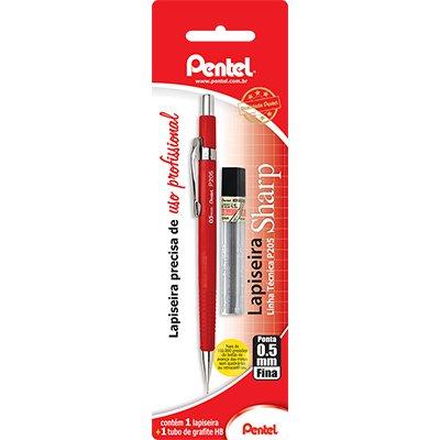Lapiseira 0.5mm Vermelha + 1 Tubo de Grafite, SM-P205-FRM6 - Pentel BT 1 UN