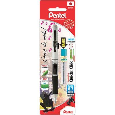 Lapiseira 0.7mm Quick Clik Preta + 1 Tubo de Grafite, SM-PD217-AM6 - Pentel BT 1 UN