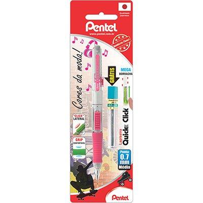 Lapiseira 0.7mm Quick Clik Rosa + 1 Tubo de Grafite, SM-PD217-PM6 - Pentel BT 1 UN