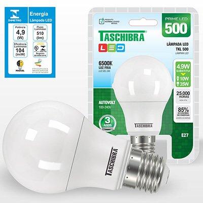 Lâmpada LED 4,9w 480 Lumens bivolt 6500K branca 16554 Taschibra BT 1 UN