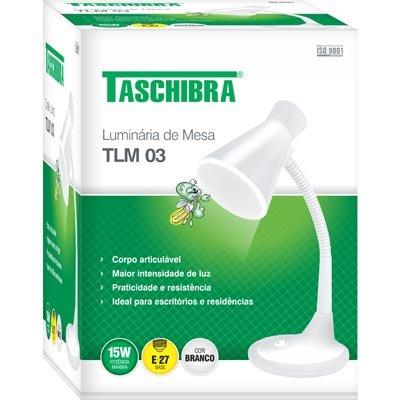 Luminária de mesa branca bivolt TLM03 Taschibra CX 1 UN