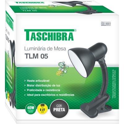 Luminária de mesa preta bivolt TLM05 Taschibra CX 1 UN