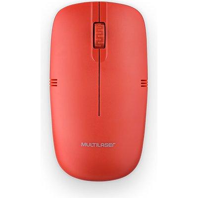 Mouse sem fio 2,4Ghz USB vermelho MO289 Multilaser PT 1 UN