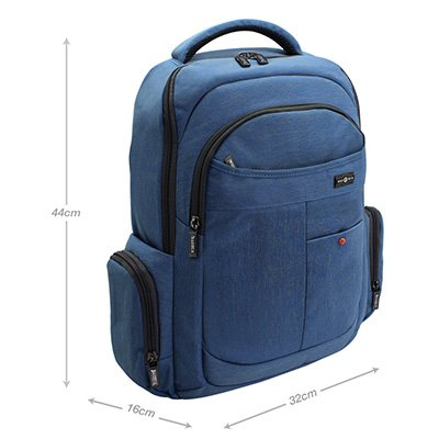 """Mochila p/ notebook até 14"""" em poliéster azul BH215-35 Baohua PT 1 PT"""