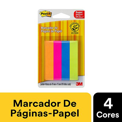 Marcador de Página Adesivo Post-it® Flags de Papel 76 mm x 15 mm - 180 folhas 3M BT 180 UN