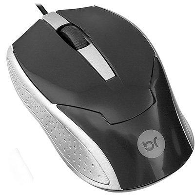 Mouse óptico usb Brasil preto e prata 0028 Bright BT 1 UN