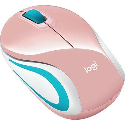 Mini Mouse sem fio Logitech M187 com Conexão USB e Pilha Inclusa - Rosa BT 1 UN