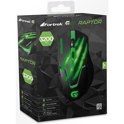 Mouse Gamer USB 3200 Dpi Raptor preto/verde 60839 Fortrek CX 1 UN