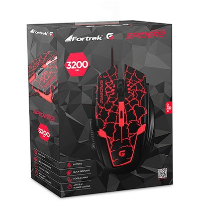 Mouse Gamer USB 3200 Dpi Spider preto/vermelho 60838 Fortrek CX 1 UN