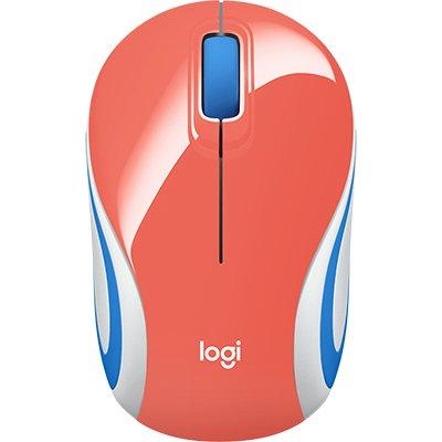 Mini Mouse sem fio Logitech M187 com Conexão USB e Pilha Inclusa - Coral BT 1 UN