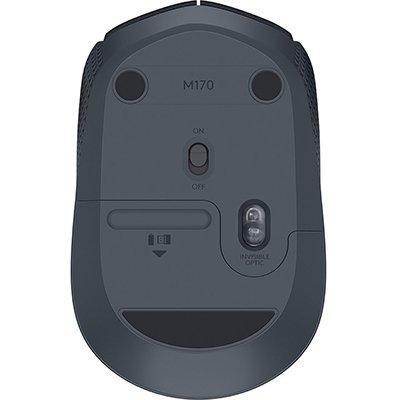 Mouse sem fio Logitech M170 com Design Ambidestro Compacto, Conexão USB e Pilha Inclusa - Preto CX 1 UN