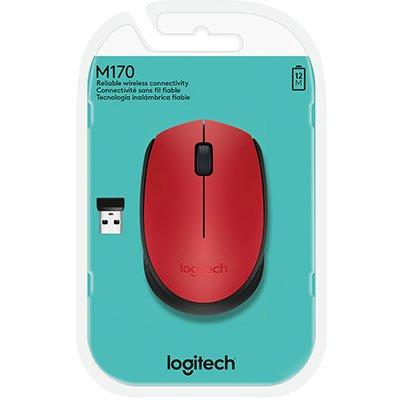 Mouse sem fio Logitech M170 com Design Ambidestro Compacto, Conexão USB e Pilha Inclusa - Vermelho CX 1 UN