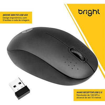 Mouse sem fio Malasia 0404 Bright BT 1 UN