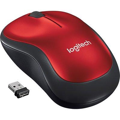 Mouse sem fio Logitech M185 com Design Ambidestro Compacto, Conexão USB e Pilha Inclusa - Vermelho CX 1 UN