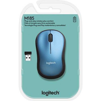 Mouse sem fio Logitech M185 com Design Ambidestro Compacto, Conexão USB e Pilha Inclusa - Azul CX 1 UN