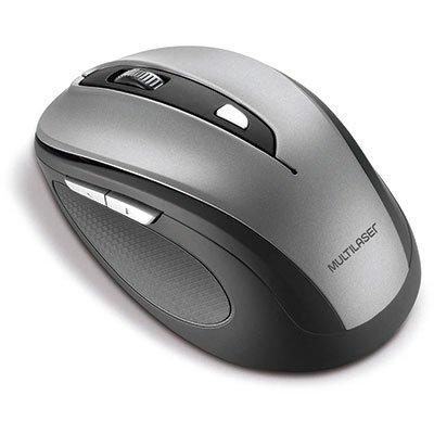 Mouse sem fio preto/cinza MO238 Multilaser PT 1 UN