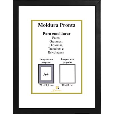 Porta certificado moldura 30x40 preto PRL3040 Decorex CX 1 UN