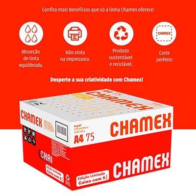 Papel Sulfite 75g Alcalino 210x297 A4 Chamex Branco - Caixa com 5 resmas - Ipaper  CX 2500 FL