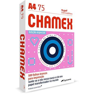 Papel Sulfite Chamex A4 75g 210mmx297mm Branco - Edição Especial Outubro Rosa Ipaper PT 500 FL