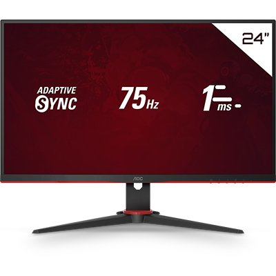 "Monitor Gamer LED IPS 23,8"" widescreen 1ms 75hz Speed - 24G2HE5 - AOC CX 1 UN"