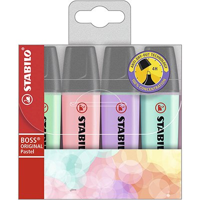 Pincel marca texto 4 cores sortido Boss pastel Stabilo BT 4 UN